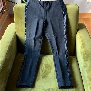 JCrew Gigi pants with faux leather stripe